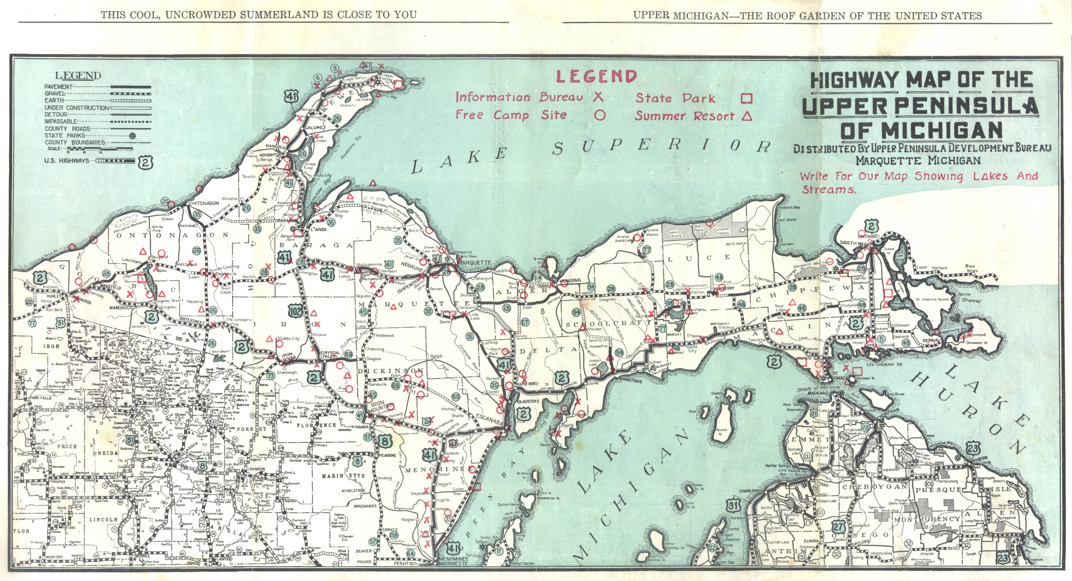 upper michigan s map michigan map